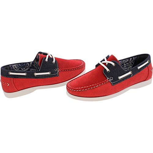 reverse Mens 2 Eye Canvas Boat Shoes - Red/Navy - Red RPIyF9JbGg