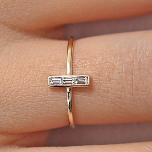 Naomi Beautiful Cross White Sapphire Size 6-10 Silver/Gold/Rose Gold Plated Womens Wedding Midi Rings Dainty and Cute Girl Rings Rose Gold 9