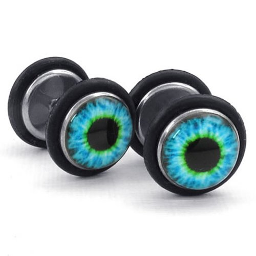 KONOV Mens Stainless Steel Evil Eye Stud Earrings, Blue Black