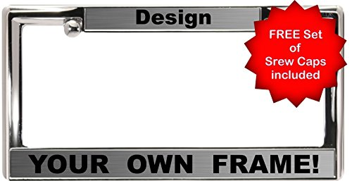 Custom Personalized Heavy Duty Chrome Metal Car License Plate Frame with FREE caps - Steel / Black