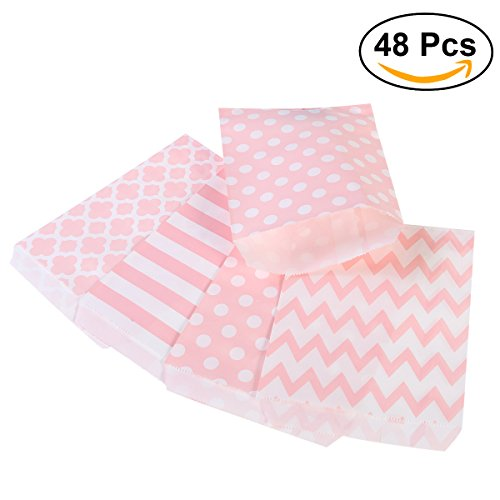 NUOLUX Treat Sacks,48pcs Wedding Candy Bar Bags Party Gift Bags Paper Bag (Pink) (Candy Bar For Party)