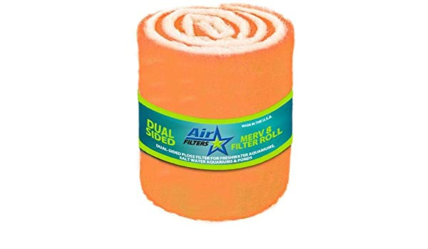 MERV 8 Tackified Antimicrobial Polyester Filter Media Orange//White 5 Foot Roll by 25 inch Wide