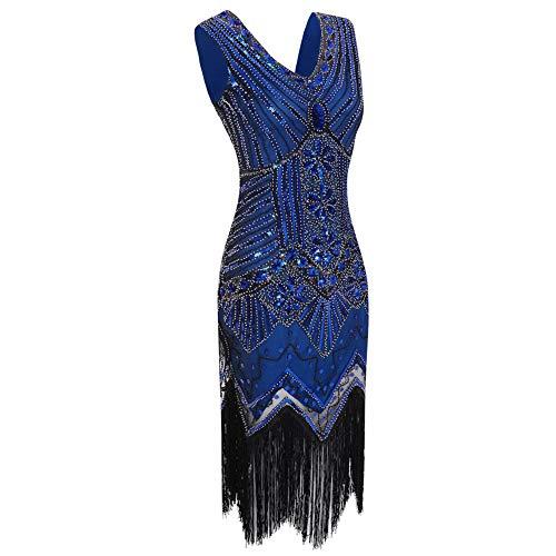 Flecos Década Gatsby Cuello blueblue V La Noche Luckgxy Aleta Mujer De xl Blueblue 1920 Tema Vestido Fiesta 1RRP0