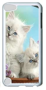 Fashion Customized Case for iPod Touch 5 Generation Cool White Plastic Case Back Cover for iPod Touch 5th with Beautiful Burmese Kittens