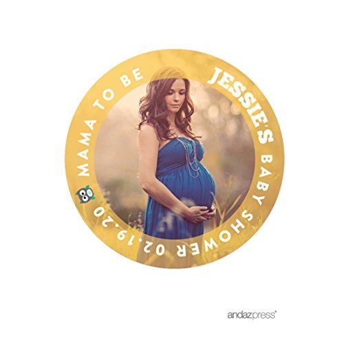 Circle Baby Photo Announcement - Andaz Press Photo Personalized Neutral Owl Baby Shower Collection, Round Circle Mama to Be Gift Label Stickers, 40-Pack, Custom Image