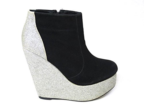 New Womens Wedge Heel Chelsea Chunky Cleated Platform Ladies Ankle Boots Shoes Size 3 4 5 6 7 8 Silver (1033) IzKzWP