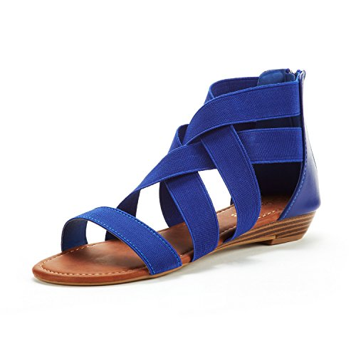 DREAM PAIRS Women's ELASTICA8 Royal Blue Elastic Ankle Strap Low Wedges Sandals Size 8.5 M US