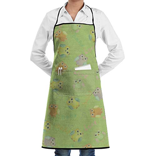 Vicrunning Baby Background Owl Green Aprons Bib for Mens Womens Custom String Adjustable Adult Kitchen Waiter Aprons with Pockets ()