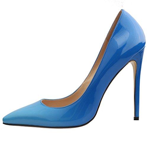 46 Spillo EU Tacco Tacco su Calaier Calzature sfumatura A 12CM blu Donna Scarpe Taglie Scivolare Caelse col 34 qYBp1
