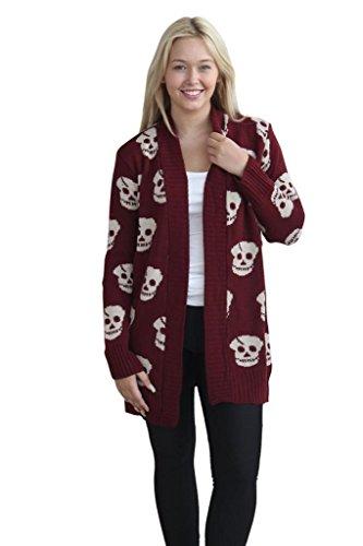 Hi Fashionz Girls Ladies Women Skull Print Halloween Open Front Knitted Warm Cardigan (S-3X)