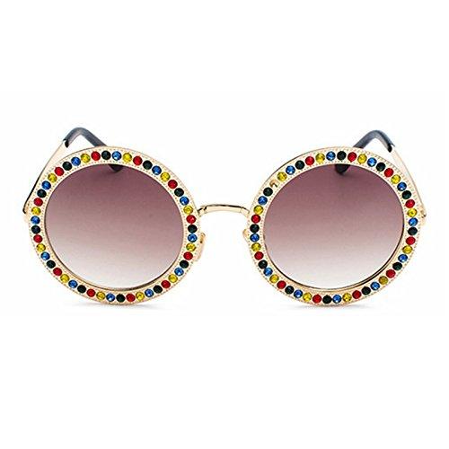 Rosa Sol De mix De Con Hombres Óculos De Tonos Gafas Vintage Redonda TIANLIANG04 Para Mujer Strass Sol Gafas a4wAxA