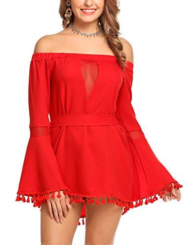 Zeagoo Women Off Shoulder Flare Sleeve Tassel Belted Sexy Casual Mini Dress(Midium) Red