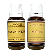 Frankincense and Myrrh Essential Oil - 15 ml - Combo Pack Therapeutic Grade, 100% Pure and Natural-great for Aromatherapy and Much More-vegan and Kosher Certified
