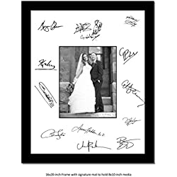 CreativePF [8x10-16x20bk-w] Signature Frame - Photo Frame with White Mat Holds 8x10-inch Media Including Installed Wall Hangers