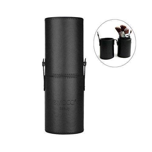EMOCCI Makeup Brush Holder Large Pu Leather Make Up Cosmetic Cup Holders Storage Organizer Case Box(Black)
