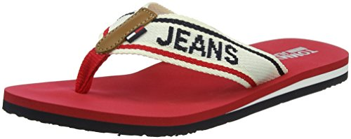 Beach Tango Rosso Tommy Donna Sandal Infradito Jeans Red Denim Low Hilfiger 611 IzxCnw4qW