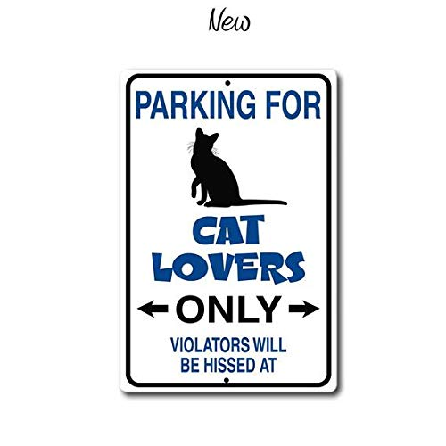 ChristBess Cat Lover Sign,Cat Lover Gift,Parking for Cat Lover, Cat Parking Sign,Funny Metal Sign,Cat Sign,Violators Will be hissed at ()