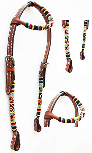 PRORIDER Horse Show Bridle Western Leather Headstall Beaded Overlay One Ear 79RT03HA
