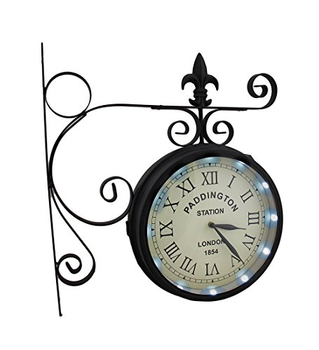 Metal Wall Clocks Double Sided Paddington Station Solar Powered Led Lighted Wall Clock 16 X 17 X 4 Inches Black (Clock Office Post)
