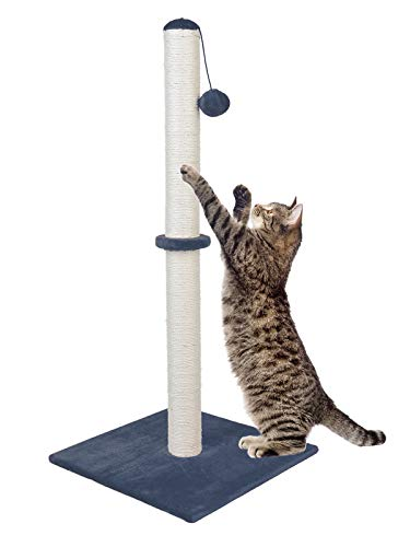 Dimaka 37 Tall Ultimate Cat Scratching Post, Claw Scratcher with Sisal Rope and Covered with Soft Smooth Plush, Vertical Scratch [Full Strectch], Modern Stable Design 37 Inches Hei (Bluish Dark Grey)