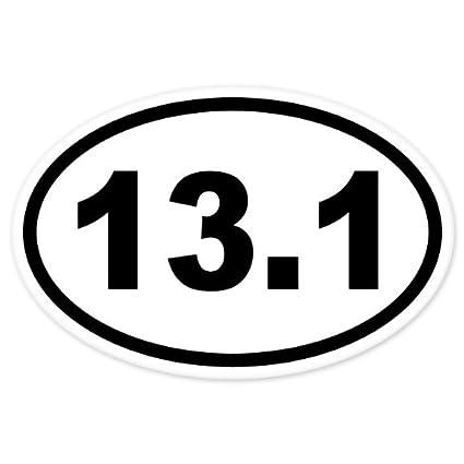 13 1 oval half marathon run car bumper window sticker 5