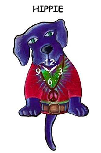Pink Cloud Hippie Dog Swinging Tail Pendulum Wall (Tail Wagging Dog Clock)