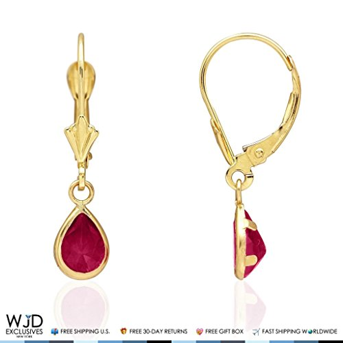 14k Yellow Gold Pear Bezel Birthstone Teardrop Leverback Earrings 1