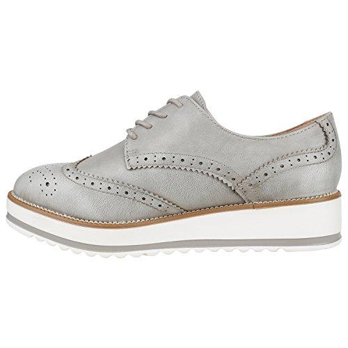 Stiefelparadies - Zapatos de vestir brogues Mujer gris