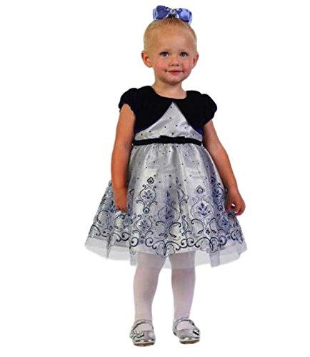 Gold Christmas Holiday Dress - Jona Michelle Toddler Girls Ivory & Gold Holiday Christmas Dress (6M, Blue Glitter Dress w/Velvet Shaw)