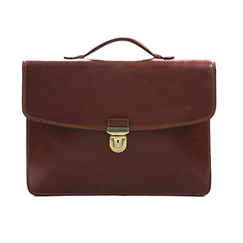 Tony Perotti Mens Italian Leather Alfero Single Compartment Document Briefcase in Cognac by Tony Perotti