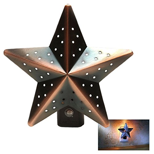 Christmas Tree Tin Star Night Light Bronze Auto Photocell Dusk-to-Dawn Sensor