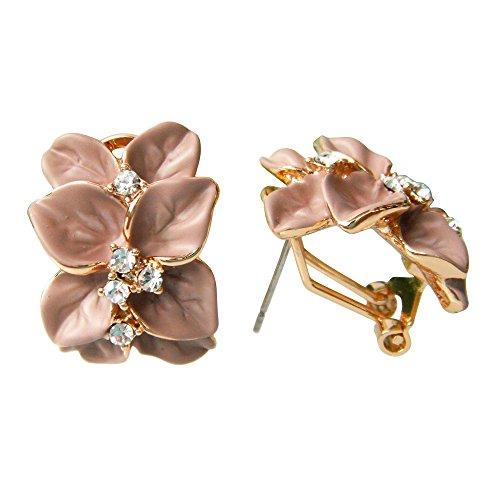 Generic 18k Gold Plated Crystal Brown Enamel Leaves Flower Omega Earrings