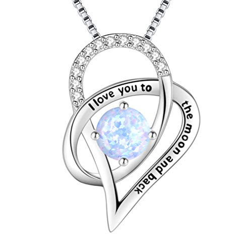ASHINE Sterling Silver I Love You To The Moon and Back Love Heart Created Opal Pendant - Necklace Moon Opal