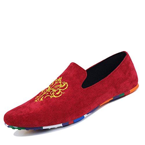 de de los cómodos Red hombres Slip Zapatos tamaño suaves terciopelo Loafers de de Mocasines mocasines gran los gran hombres tamaño de Velvet conducción Zapatos On de Zapatos de dXxwCzqvw