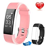Lintelek Fitness Tracker Heart Rate Monitor Calorie Step Counter Pedometer Odometer, Waterproof Sleep Monitor, Smart Watch with Free Replacement Band Android iOS, Men Women