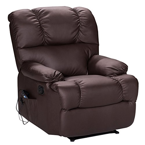 Giantex Recliner Massage Sofa Chair with Heating Set and 8 Vibrating Modes, Ergonomic Full Body Leather Massage Chair Recliner with Control for Home, Living Room (Brown)