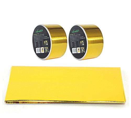 HiwowSport Gold Reflective Adhesive Backed Heat Barrier Reflect Sheet 20 X 20 plus 2pcs 2x15feets gold tape