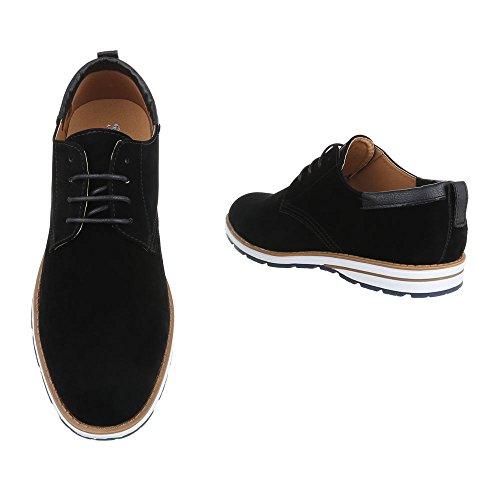 Budapester Stil Herrenschuhe Oxford Schnürer Schnürsenkel Ital-Design Business-Schuhe Schwarz