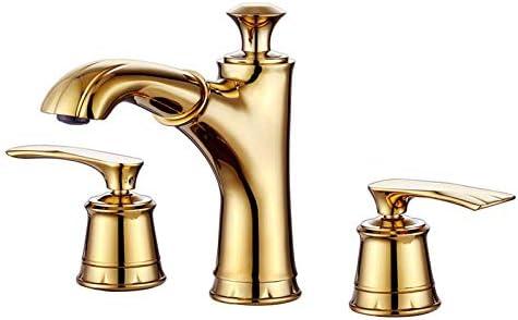 Zxyan 蛇口 立体水栓 バスルームのシンクは、スロット付き浴室の洗面台のシンクホットコールドタップミキサー流域の真鍮シンクミキサータップゴールデンスリーホール盆地の蛇口を引き出し洗面台の蛇口のタップのフル銅温水と冷水の蛇口 トイレ/キッチン用