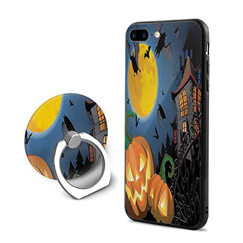 Halloween iPhone 7 Plus/iPhone 8 Plus Cases,Gothic Halloween Haunted House Party Theme Design Trick or Treat for Kids Print Multicolor,Design Mobile Phone Shell Ring -