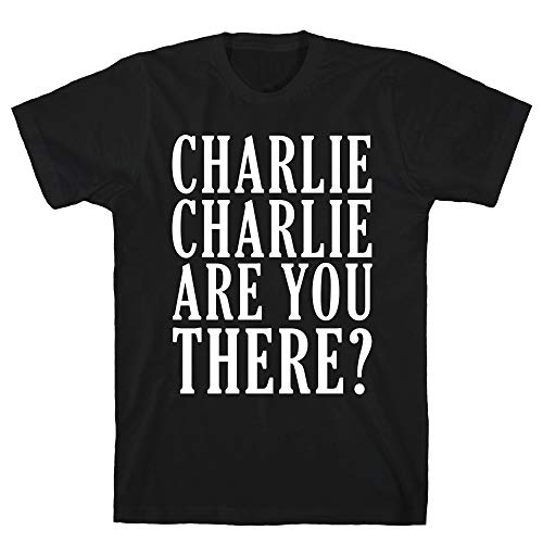 LookHUMAN Charlie Charlie are You There 2X Black Men's Cotton Tee -