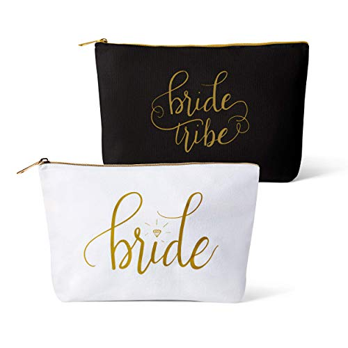11 Piece Set of Black Bride Tribe and Bride Canvas Makeup Bags for Bachelorette Parties, Weddings and Bridal Showers!