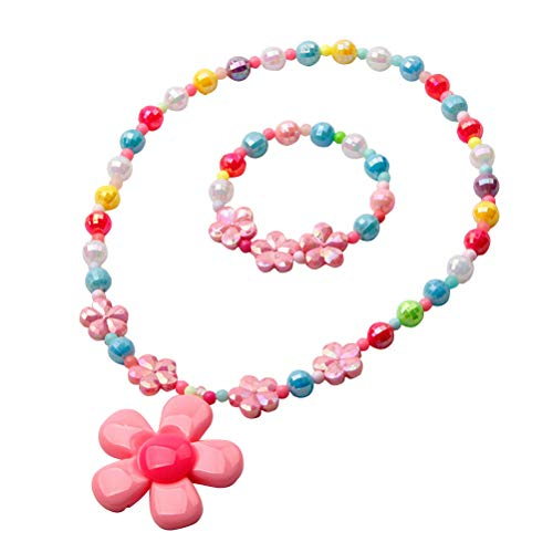 YeahiBaby Resin Flower Bead Necklace and Bracelet Children Jewelry Set for Party Birthday Gift