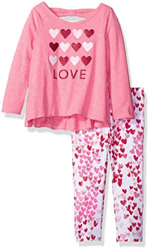 [The Children's Place Baby-Girls Sweet Li'l Printed Top and Legging Outfit Set, Neon Berry, 18-24] (Neon Outfits)