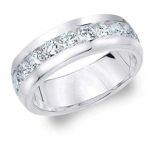 Eternity Wedding Bands LLC Platinum Diamond Men's Channel Set Ring (2.0 cttw, F-G Color, VVS1-VVS2 Clarity) Size 7 by Eternity Wedding Bands LLC