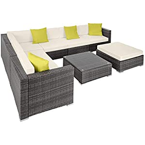 TecTake Grey Rattan Outdoor L Shaped Sofa Set with Pillows
