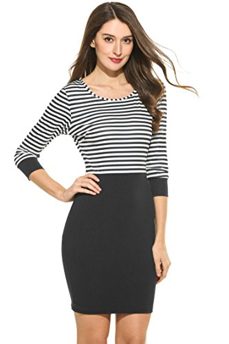 Hotouch Women's Spring Casual Bottoming Striped Shirt Dress