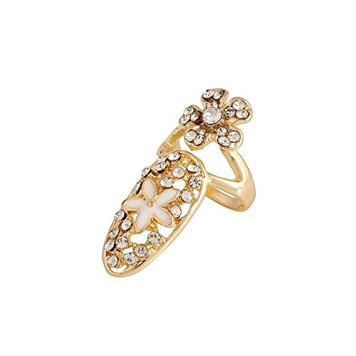 Price comparison product image Winter's Secret Gold Plated Deluxe Style Diamond Accented Flower Fingernail Ring