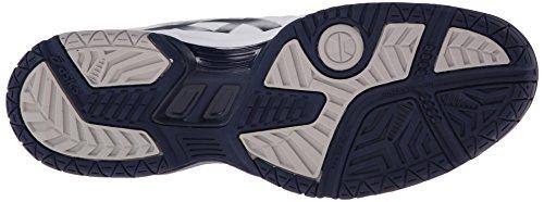 Asics Hombres Gel-dedicate 4 Zapato De Tenis Blanco / Azul Marino / Plateado