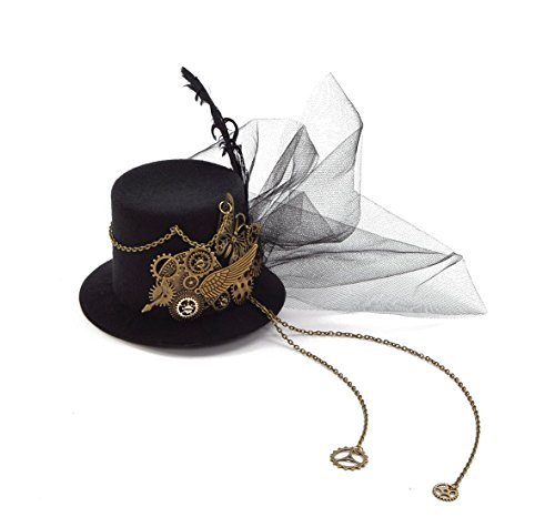 Crystalbella Kid Cosplay Women Steampunk Mini Top Hat Hair Clip Punk Gear Wings Clock Butterfly Hair ()